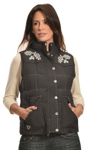 Cowgirl Hardware Women's Black Quilted Floral Vest , Black, hi-res