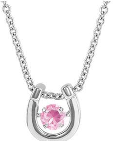 Montana Silversmiths Women's Dancing Birthstone Horseshoe Necklace, Silver, hi-res