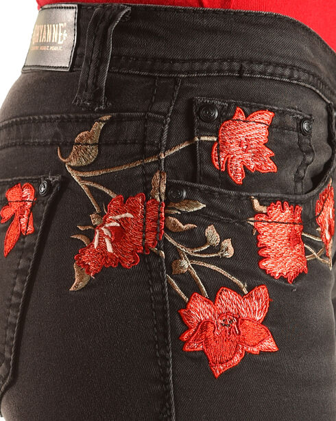 Shyanne Women's Mid-Rise Floral Embroidered Jeans - Skinny, Black, hi-res