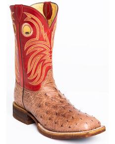 Justin Men's Cognac Ostrich Western Boots - Wide Square Toe, Cognac, hi-res