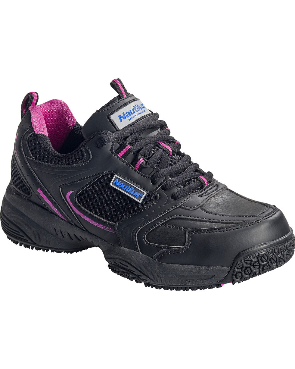 Nautilus Women's Black and Pink Athletic Work Shoes - Steel Toe, Black, hi-res
