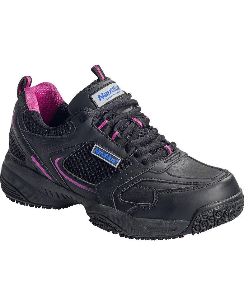 Nautilus Women's Black and Pink Athletic Work Shoes - Steel Toe, Black, hi-res