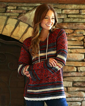 Wrangler Women's Rust Aztec Sweater Hoodie , Multi, hi-res