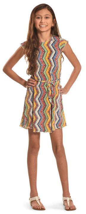 Derek Heart Girls' Flutter Sleeve Swing Dress, Multi, hi-res