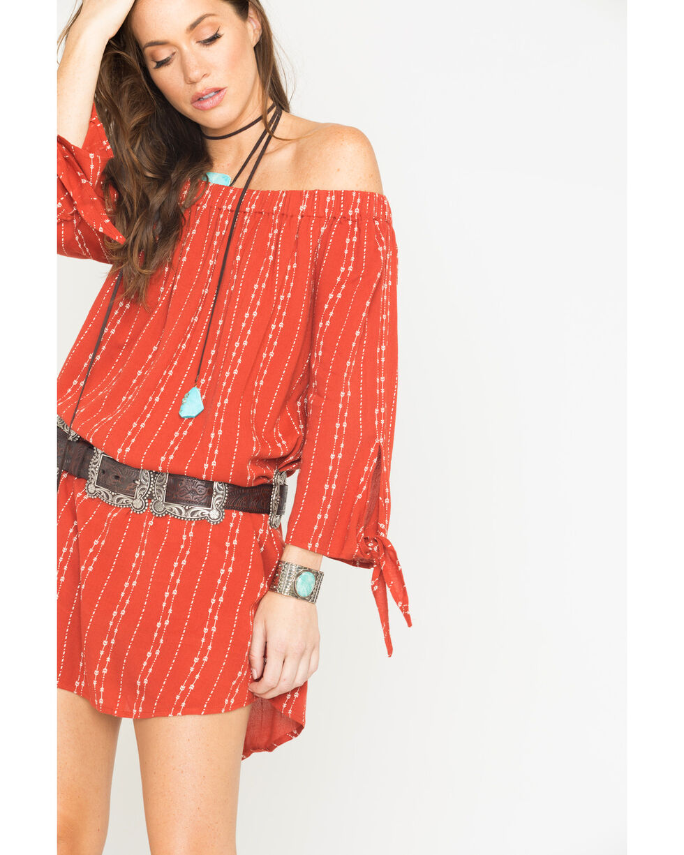 Miss Me Women's With the Flow Off The Shoulder Dress, Orange, hi-res