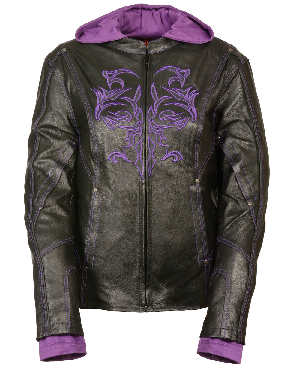 Milwaukee Leather Women's 3/4 Jacket With Reflective Tribal Detail - 4X, Black/purple, hi-res