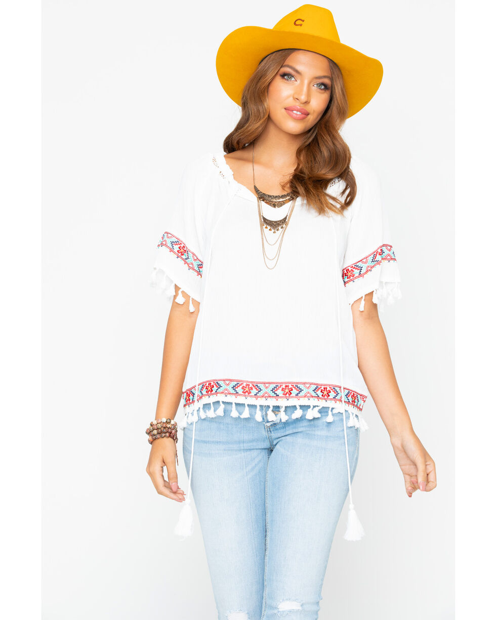Rock & Roll Cowgirl Women's Mexicali Peasant Blouse, Cream, hi-res