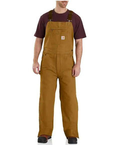 Carhartt Men's Brown Quilt Lined Washed Bib Work Overalls - Tall, Brown, hi-res