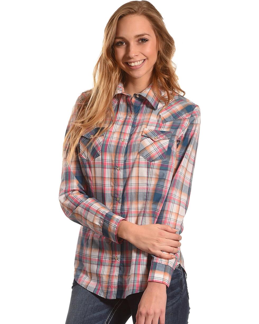 Wrangler Women's Multi Plaid Long Sleeve Western Snap Shirt, Multi, hi-res