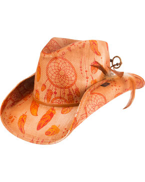 Peter Grimm Orange Dreamcatcher Cowgirl Hat, Orange, hi-res