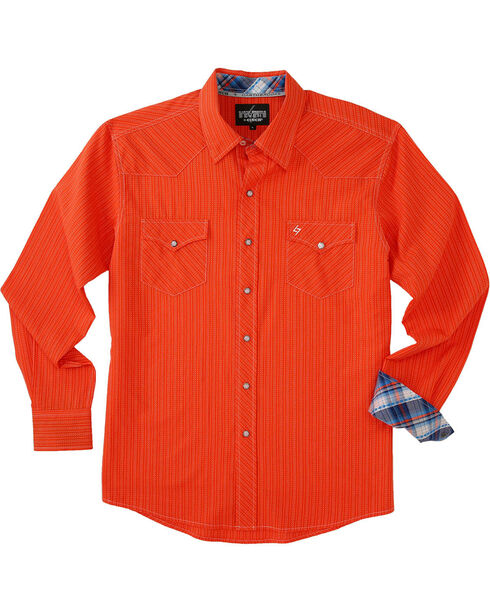 Garth Brooks Sevens by Cinch Men's Orange Hexagon Snaps Long Sleeve Shirt , Orange, hi-res