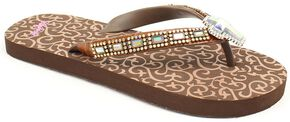 Blazin Roxx Leanne Brown Cross Crystal Concho Flip Flops, Brown, hi-res