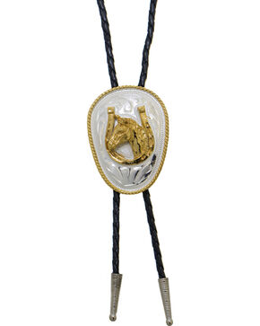 Western Express German Silver Horsehead And Horseshoe Bolo Tie, Silver, hi-res