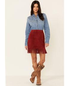 Idyllwind Women's Chili Red Hot Ultrasuede Fringe Mini Skirt, Chilli, hi-res