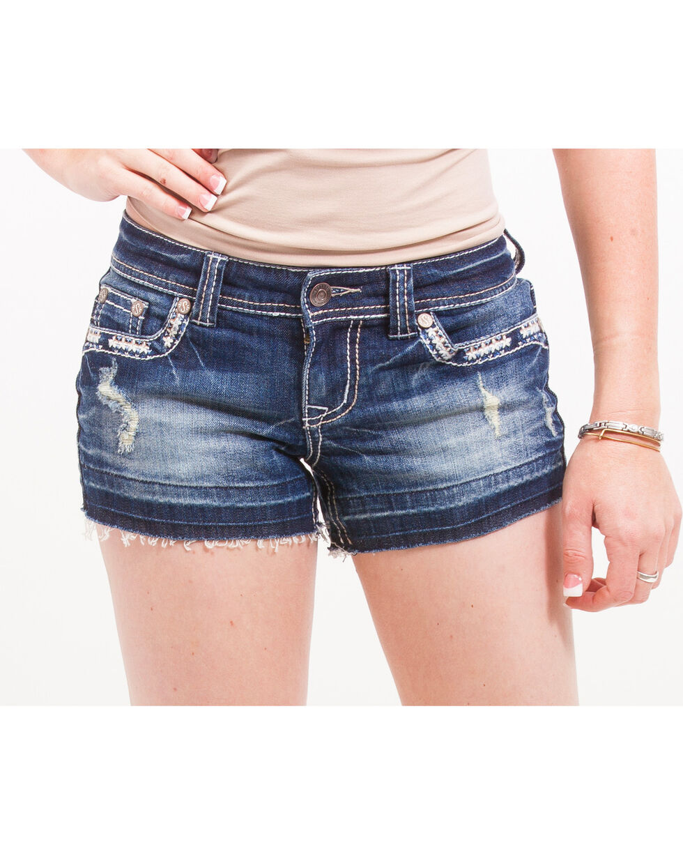 Shyanne Women's Heavy-Stitched Raw Edge Hem Denim Shorts, Blue, hi-res