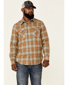 Pendleton Men's Grey & Yellow Canyon Large Plaid Long Sleeve Snap Western Flannel Shirt , Grey, hi-res