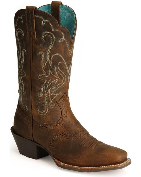Ariat Saddle Vamp Legend Riding Cowgirl Boots - Square Toe, Distressed, hi-res