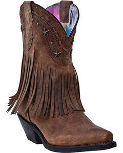 Dingo Hang Low Fringe Short Cowgirl Boots - Snip Toe, Brown, hi-res