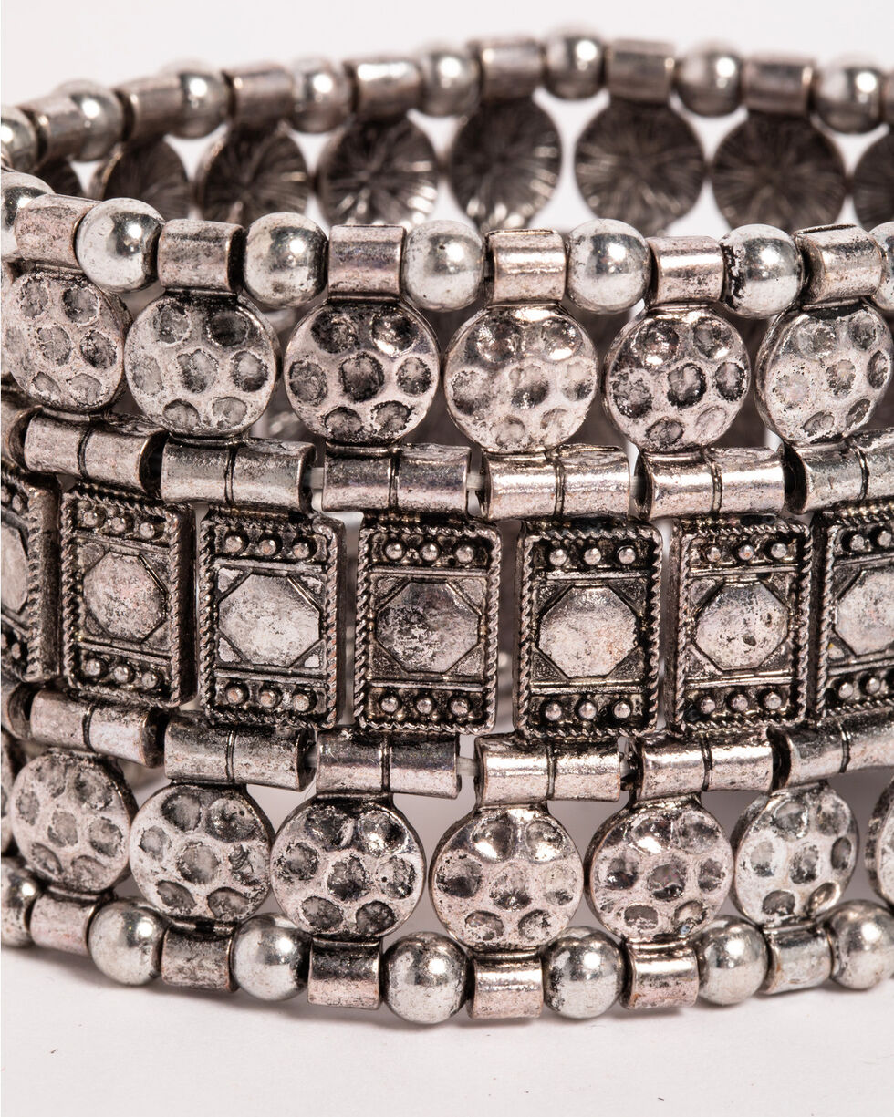 Shyanne Women's Mixed Pattern Stretch Bracelet, Silver, hi-res