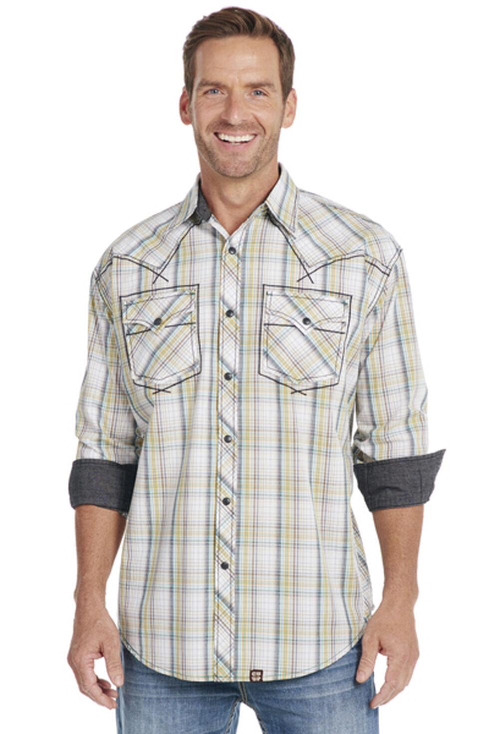 Cowboy Up Long Sleeve Plaid Snap Shirt, White, hi-res