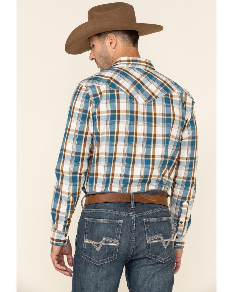 Gibson Men's Diablo Vista Small Plaid Long Sleeve Western Shirt , Cream/blue, hi-res