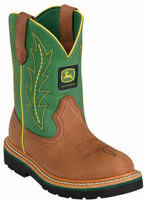 John Deere Youth Boys' Johnny Popper Green Western Boots - Round Toe, Tan, hi-res