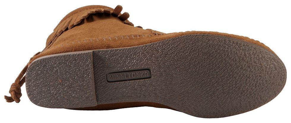 Women's Minnetonka Suede Back Zipper Moccasin Boots, Dusty Brn, hi-res