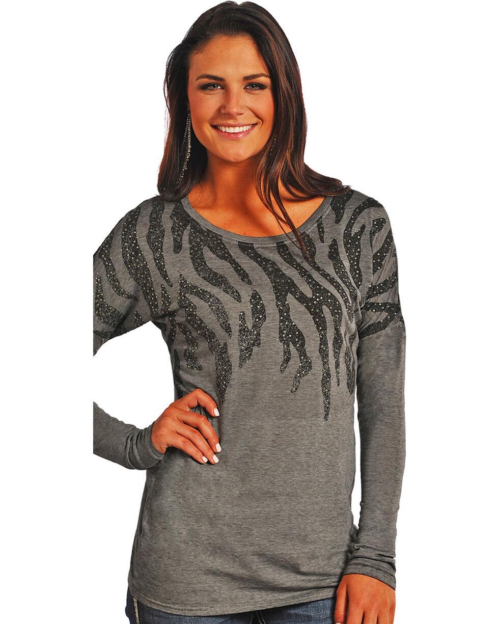 Rock & Roll Cowgirl Women's Grey Zebra Print Long Sleeve Shirt , Grey, hi-res