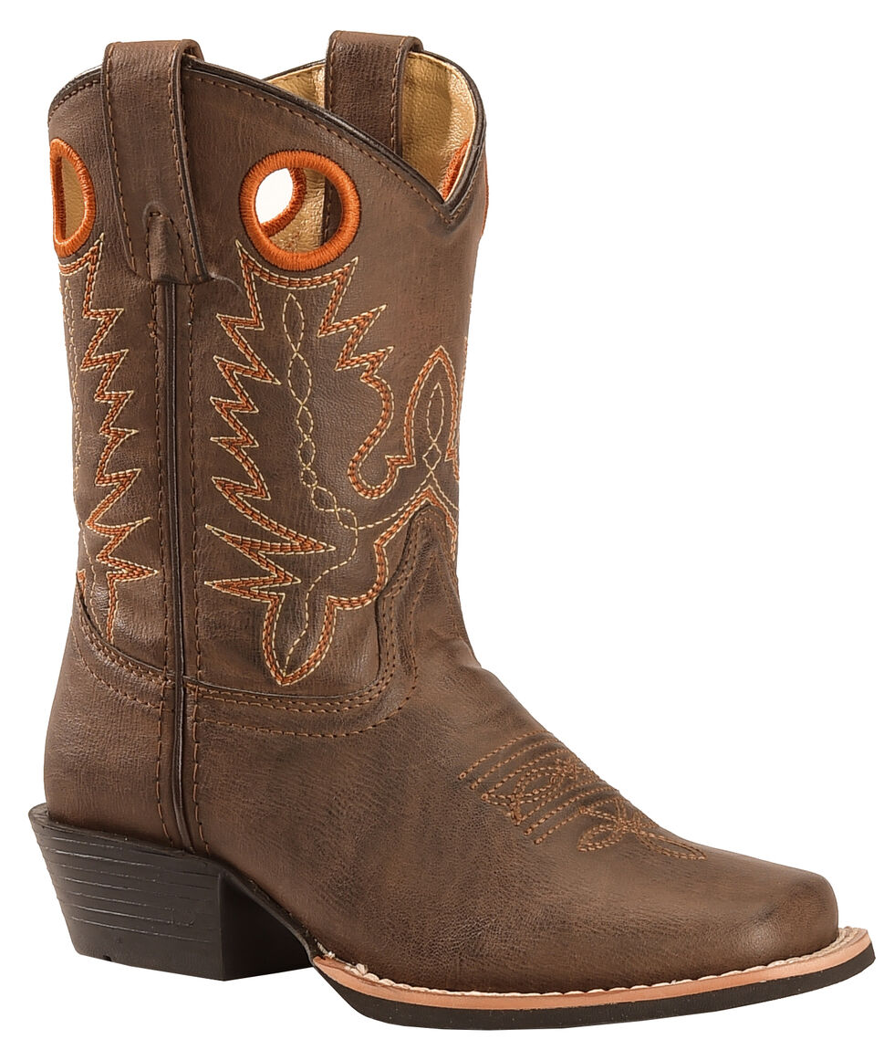 Swift Creek Youth Boys' Brown Pull Hole Cowboy Boots - Square Toe , Brown, hi-res