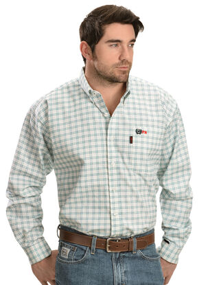 Cinch Green and White Plaid Flame Resistant Work Shirt, White, hi-res