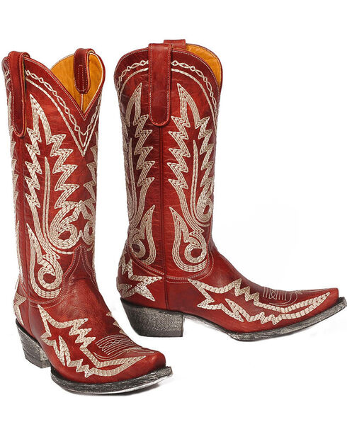 """Old Gringo Women's Nevada Heavy 13"""" Western Fashion Boots - Snip Toe, Red, hi-res"""