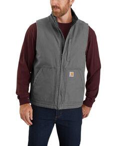 Carhartt Men's Gravel Washed Duck Sherpa Lined Mock Neck Work Vest - Big , Dark Grey, hi-res