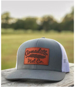 Armadillo Hat Co. Men's Smoke Leather Patch Trucker Cap, Grey, hi-res