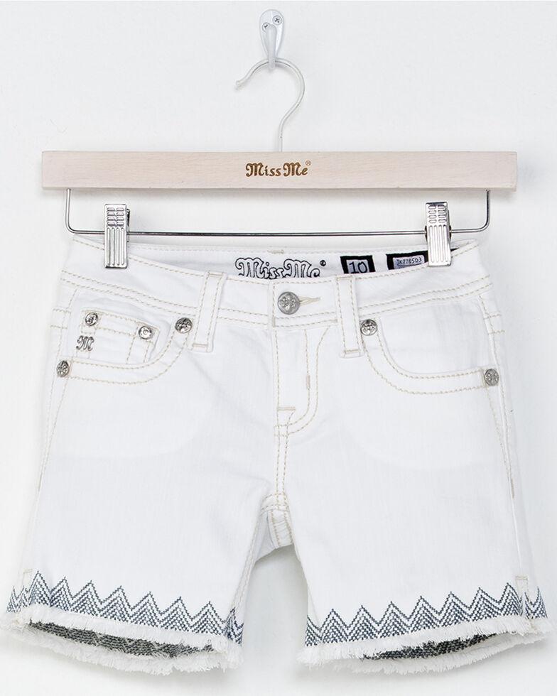 Miss Me Girls' Swept Away Mid Shorts , White, hi-res