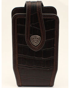 Ariat Croc Print Cell Phone Case, Brown, hi-res