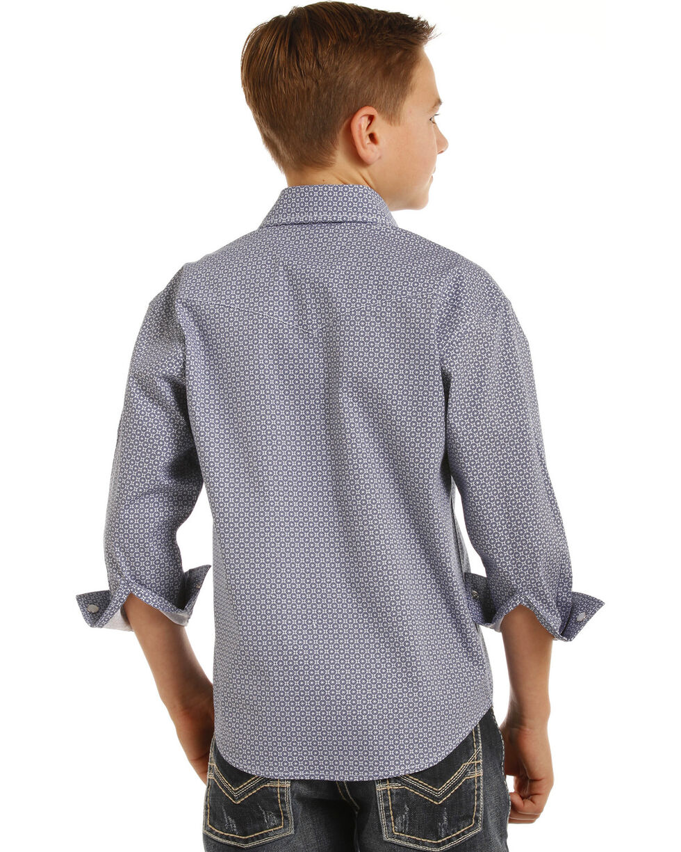 Rock & Roll Cowboy Boys' Geometric Print Long Sleeve Snap Shirt, Blue, hi-res