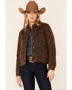 Shyanne Women's Dark Brown Quilted Oil Skin Button-Front Jacket , Dark Brown, hi-res