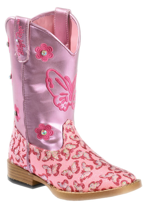 Blazin Roxx Youth Pink Pecos Glitter Cowgirl Boots - Square Toe, , hi-res