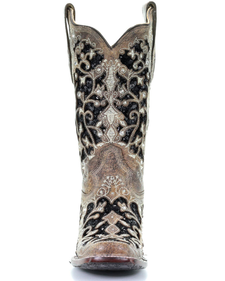 b9169cfb075 Corral Women's Black Sequin Inlay Western Boots - Square Toe