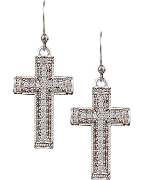Montana Silversmiths Sparkling Faith Cross Earrings, Silver, hi-res