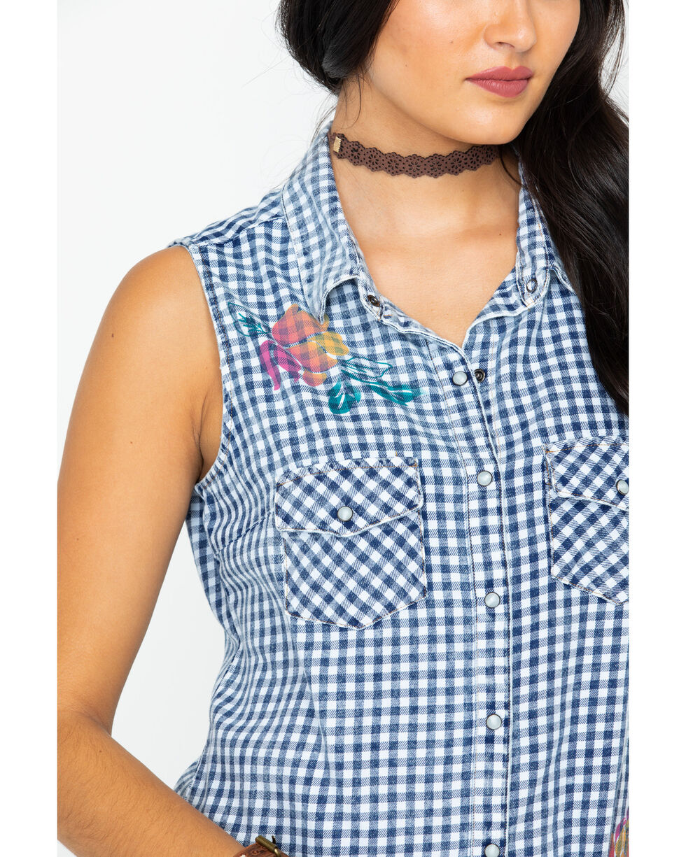 Shyanne Women's Floral Printed Plaid Sleeveless Shirt, Black/white, hi-res