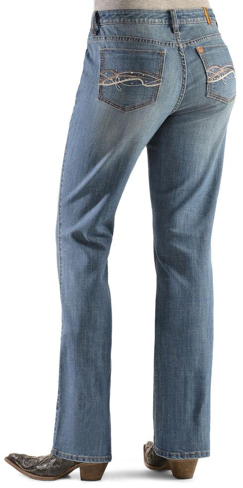 Wrangler Women's Aura Instantly Slimming Embroidered Pocket Bootcut Jeans, Denim, hi-res