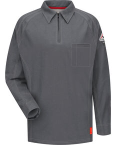 Bulwark Men's Grey iQ Series Flame Resistant Long Sleeve Polo, Charcoal Grey, hi-res