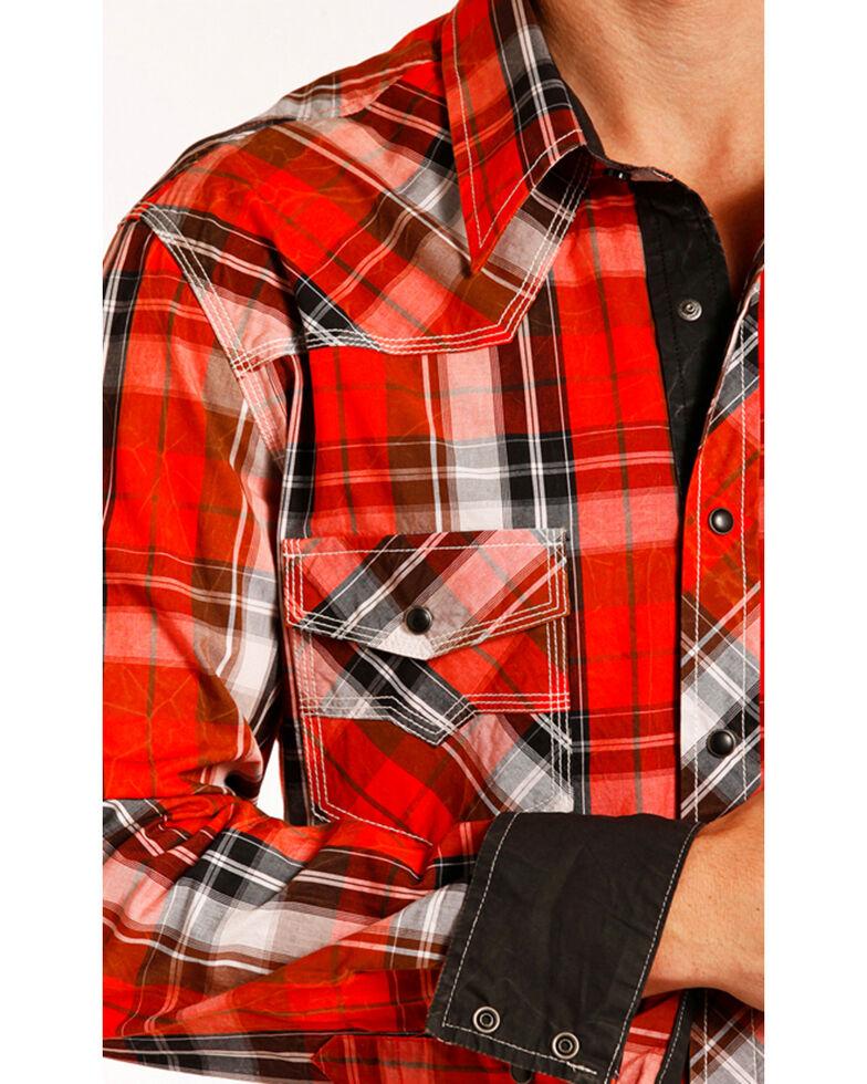 Rock & Roll Denim Men's Red Crinkle Washed Plaid Long Sleeve Western Shirt , Red, hi-res