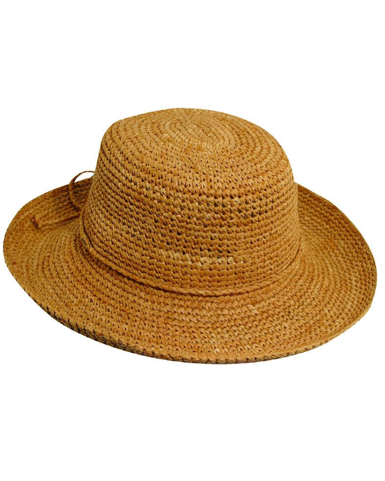 Scala Women's Packable Organic Crocheted Raffia Hat, Tea, hi-res