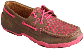 "Twisted X Women's ""Tough Enough to Wear Pink"" Check Driving Mocs , Brown, hi-res"