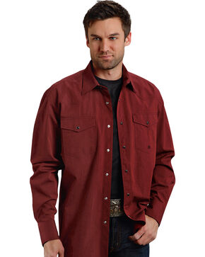 Roper Men's Amarillo Collection Maroon Snap Long Sleeve Shirt, Red, hi-res