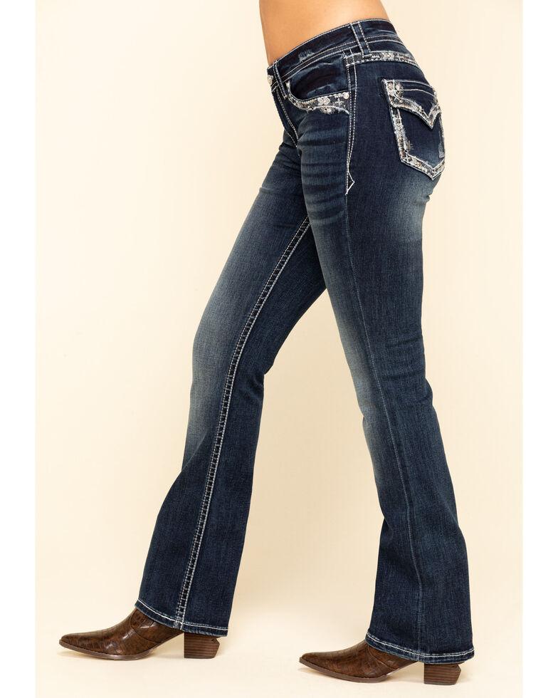 Grace in LA Women's Dark Wash Curved Embellishment Bootcut Jeans , Blue, hi-res