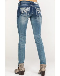 Grace in LA Women's Medium Low Skinny Jeans, Blue, hi-res