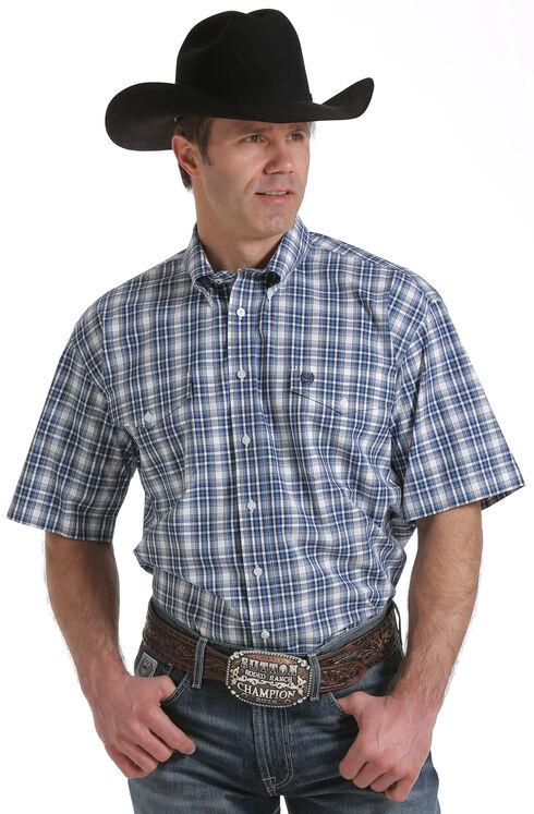 Cinch Men's White Two Pocket Short Sleeve Plaid Shirt , White, hi-res